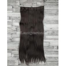 Трессы прямые ровные на заколках 60см темно-коричневые волосы #2