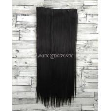 Волосы на заколках на одной ленте черный №1 ровные трессы 5 клипс
