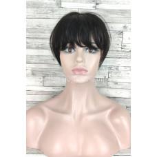 Накладка из натуральных волос коричневый с челкой имитация роста волос 23см
