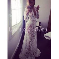 Пеньюар платье из кружева белое для фотосессий  XL