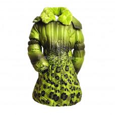 Пуховик зимний  для девочки леопардовый принт зеленый 128 натуральный пух