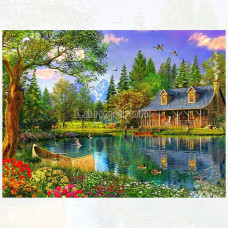 Картина для выкладывания камнями Пейзаж Домик у озера с лодкой 30*30 (24*24 см) №642