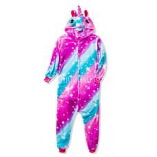 Пижама Единорог звездный фиолетовый/голубой на рост 135-140см кигуруми