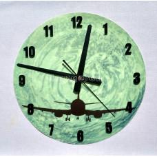 Часы настенные светящиеся в темноте Самолет 29 см