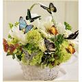 Картина для выкладывания камнями Корзина цветов с бабочками размер 24*24см