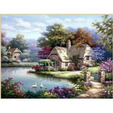 Картина для рисования камнями пейзаж 30*40 стразами Diamond painting Алмазная вышивка алмазами дом у реки