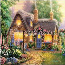 Картина для выкладывания круглыми камнями Дом с  трубами 24*24 Полная заполнение.