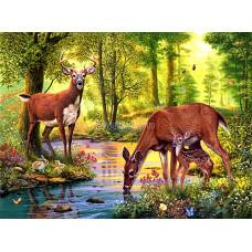 Картина для выкладывания камнями Олени в лесу 30*40