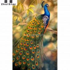 """Картина для рисования камнями павлин (стразами) """"Diamond painting"""" """" Алмазная вышивка"""" мозаика павлин на ветке"""