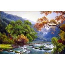 Картина для рисования камнями пейзаж 30*45 стразами Diamond painting Алмазная вышивка алмазами мозаика река