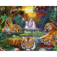 """Картина для выкладывания камнями."""" Тигры"""" 42*32 см Камни круглые полное заполнение."""