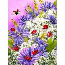 Картина для выкладывания камнями Цветы с божьими коровками 35*45 Полная выкладка. Квадратные камни