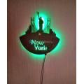 Часы настенные из фанеры New York светильник-ночник с пультом