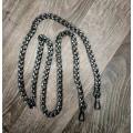 Цепочка-ручка для сумки  120 см 11мм  цвет черный   металл с карабинами вес 200гр.