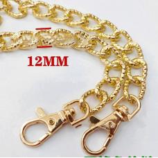 Цепочка-ручка для сумки  120 см 12мм цвет золото  металл с карабинами