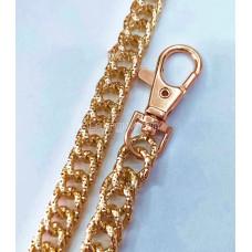 Цепочка-ручка для сумки  120 см 10мм цвет золото  двойной ромбовидный узор