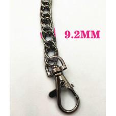 Цепочка-ручка для сумки  120 см 9,2мм цвет черный  двойное плетение с насечками