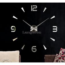 Часы 3d объемные разборные с 4 цифрами и штрихами  до 1м цвет серебро