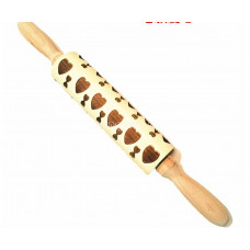 Скалка деревянная  с резным рельефным рисунком для раскатки теста.Узор сердечки