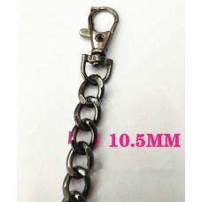 Цепочка-ручка для сумки  120 см 10,5мм цвет черный  металл с карабинами