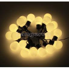 Гирлянда led лампочки шарики 20шт 220v желтое свечение матовые лампочки 5м