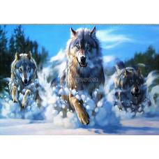 Картина квадратными камнями Волки зима 45*35