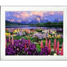 Картина круглыми камнями Пейзаж Горы цветы 30*40