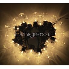 Гирлянда led лампочки шарики 20шт 220v желтое свечение прозрачные лампочки 5м