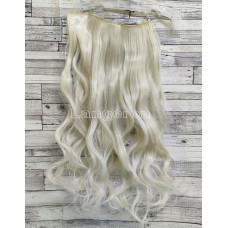 Волосы на заколках на одной ленте блонд платиновый №60  волнистые