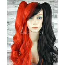 Парик косплей Лолита черно-красный с двумя хвостами 65см хвосты 50см