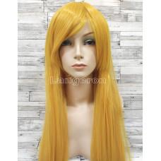 Парик желтый ровный 80см  с косой челкой стрижка каре искусственный  аниме косплей cosplay