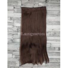 Трессы ровные темно-коричневые на ленте 60см прямые искусственные термостойкие волосы на клипсах №2/33