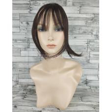 Накладка из искусственных волос темно-коричневая с пробором и челкой прямая