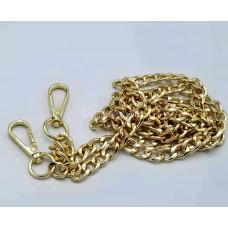 Цепочка-ручка для сумки  120 см  9 мм   цвет золото  металл  с карабинами