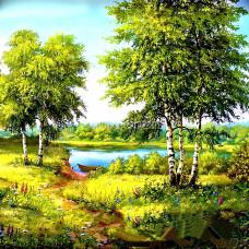 Картина для выкладывания круглыми камнями Березы у реки 34*24 см