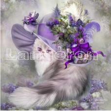 Картина для выкладывания камнями кошка в шляпе 25*25