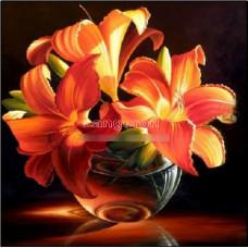 Картина для выкладывания камнями лилии оранжевые 30*30