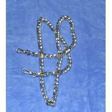 Цепочка-ручка для сумки  110 см 12мм цвет серебро сплав  с карабинами вес 70 грамм