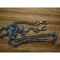 Цепочка-ручка для сумки  120 см 10мм цвет серебро  двойное плетение  с карабинами