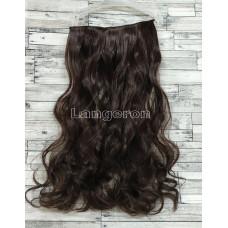 Трессы волнистые темно-коричневые №4 волосы на заколках 120г