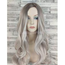 Парик блонд волнистый 65см жемчужный с затемненными корнями и пробором