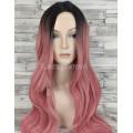 Парик с пробором розовый с темными корнями волнистый 75см 1601R/F28