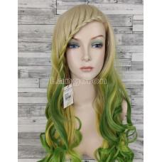 Парик блонд волнистый 70см с салатовым