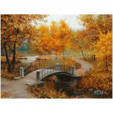 Картина круглыми камнями Осенний парк мостик 32*22см