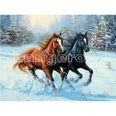 Картина круглыми камнями Пара лошадей зимний лес 32*22