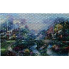 Картина круглыми камнями Пейзаж домик река 34*24