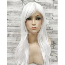 Парик белый прямой 70см с косой челкой стрижка каскад искусственный  аниме косплей cosplay