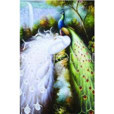 Картина для выкладывания камнями павлины белый и зеленый 30*20