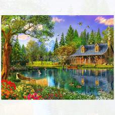 Картина для выкладывания камнями Домик у озера 30*40