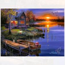 Картина для выкладывания камнями Пейзаж Домик лодка причал закат 30*40 (35*25)